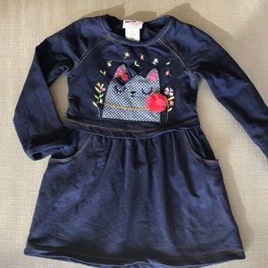 Bopster & Mimi Navy knit dress with cat appliqué